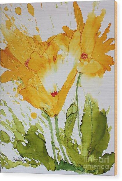 Sun Splashed Poppies Wood Print
