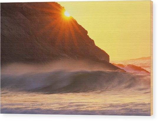 Sun Star Singing Beach Wood Print
