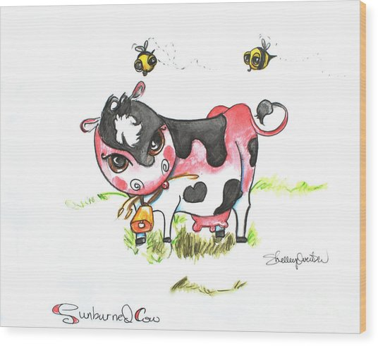Sunburned Cow Wood Print