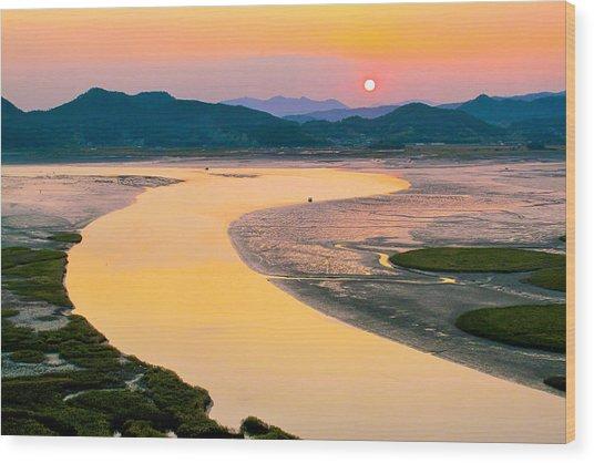 Suncheon Bay Sunset Wood Print