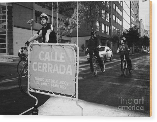 sunday morning roads closed for cyclists and walkers Santiago Chile Wood Print by Joe Fox