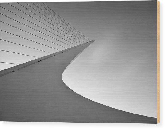 Sundial Bridge Bw 6 Wood Print by Leland D Howard