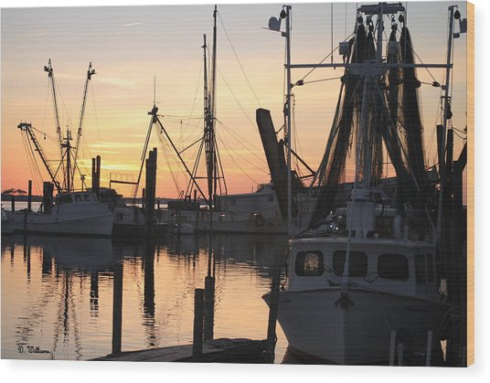 Sundown At Marshallberg Harbor Wood Print