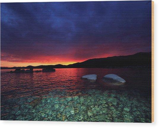 Sundown In Lake Tahoe Wood Print