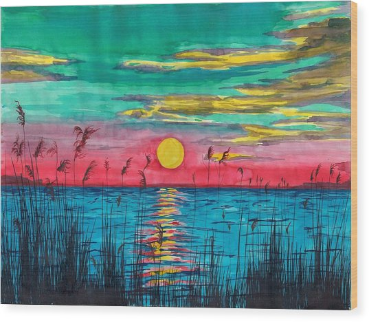 Sundown In The Glades Wood Print by Beverly Marshall