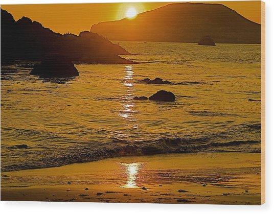 Sundown Sea Wood Print