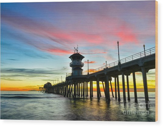Sunet At Huntington Beach Pier Wood Print