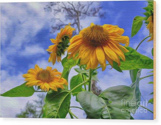 Sunflower Art Wood Print by George Paris