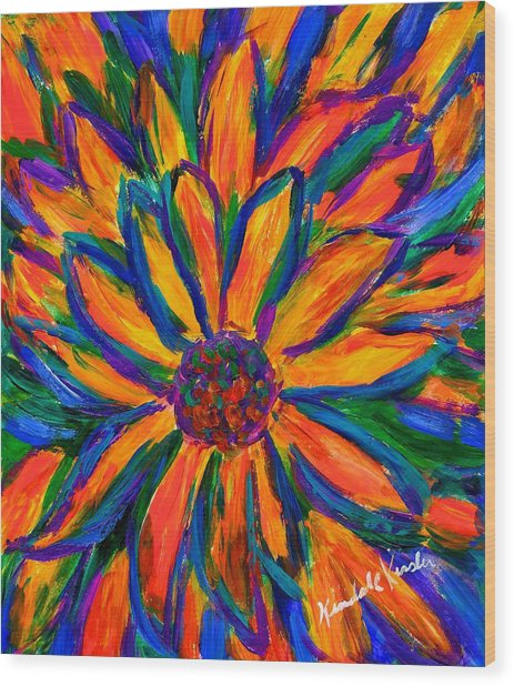 Sunflower Burst Wood Print