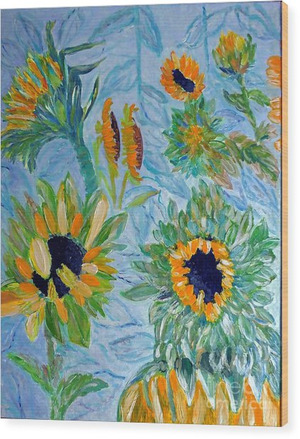 Sunflower Cycle Of Life 1 Wood Print