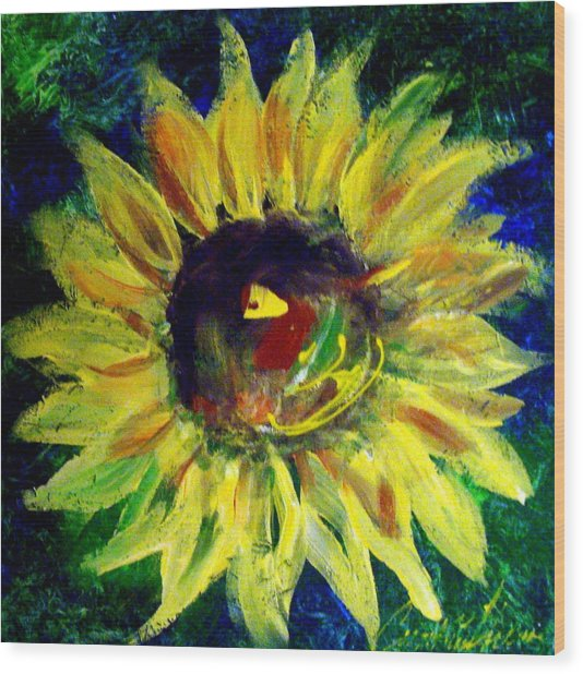 Sunflower  Wood Print by Cynthia Hudson