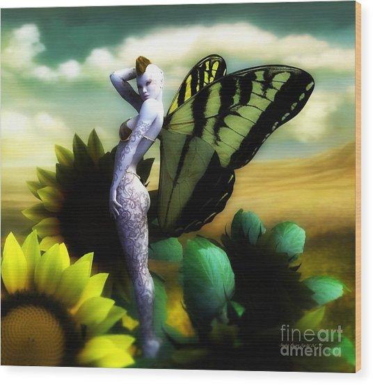 Sunflower Fairy Wood Print by Sandra Bauser Digital Art