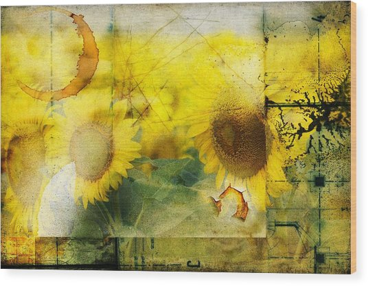 Sunflower Grunge Wood Print