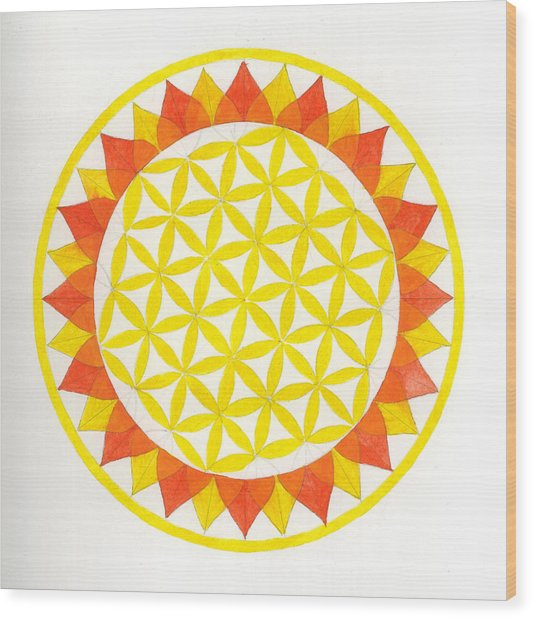 Sunflower Mandala Wood Print by Silvia Justo Fernandez