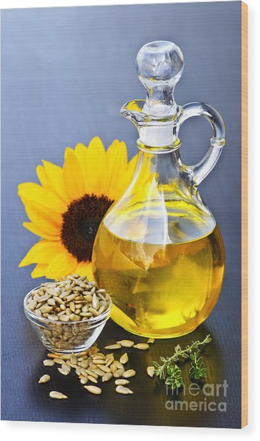 Sunflower Oil Bottle Wood Print