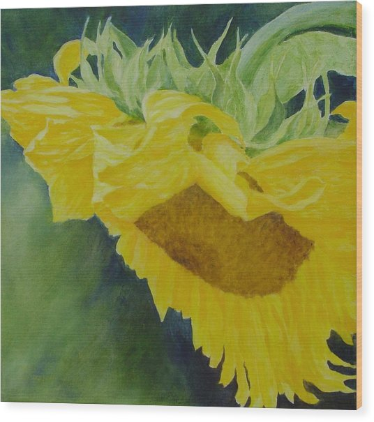 Sunflower Original Oil Painting Colorful Bright Sunflowers Art Floral Artist K. Joann Russell  Wood Print