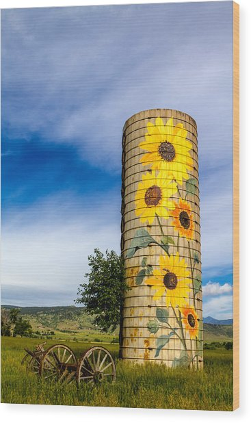 Sunflower Silo Wood Print