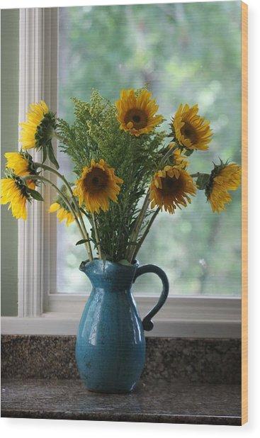 Sunflower Window Wood Print by Paula Rountree Bischoff