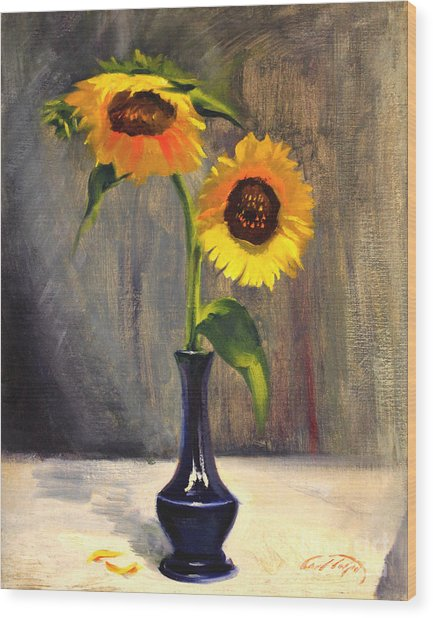 Sunflowers - Adoration Wood Print