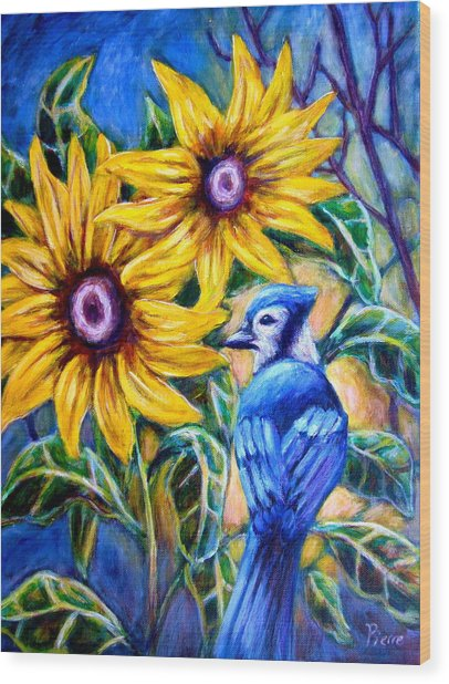 Sunflowers And Blue Jay Wood Print
