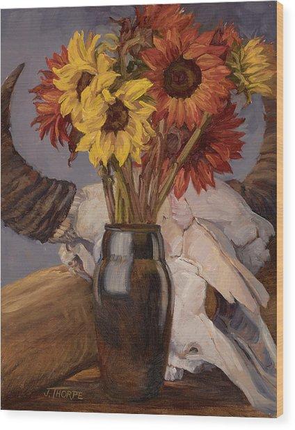 Sunflowers And Buffalo Skull Wood Print