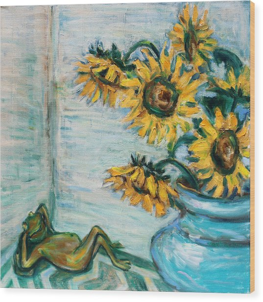 Sunflowers And Frog Wood Print