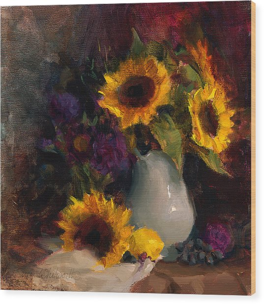 Sunflowers And Porcelain Still Life Wood Print