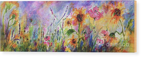 Sunflowers Bees Pink Poppies Wildflowers Wood Print