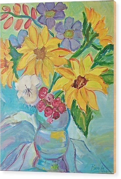 Sunflowers Wood Print by Brenda Ruark