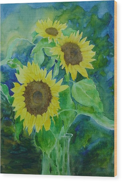 Sunflowers Colorful Sunflower Art Of Original Watercolor Wood Print
