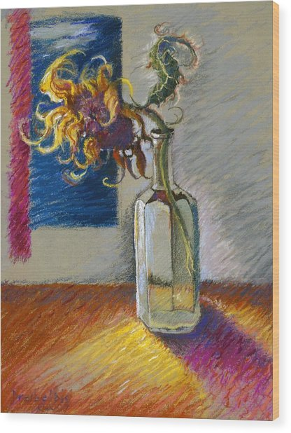 Sunflowers In A Bottle Wood Print