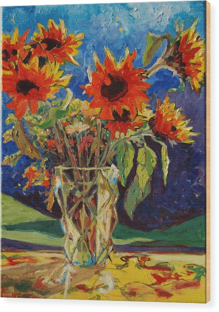 Sunflowers In A Crystal Vase Wood Print
