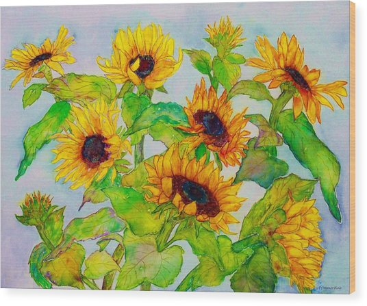 Sunflowers In A Field Wood Print
