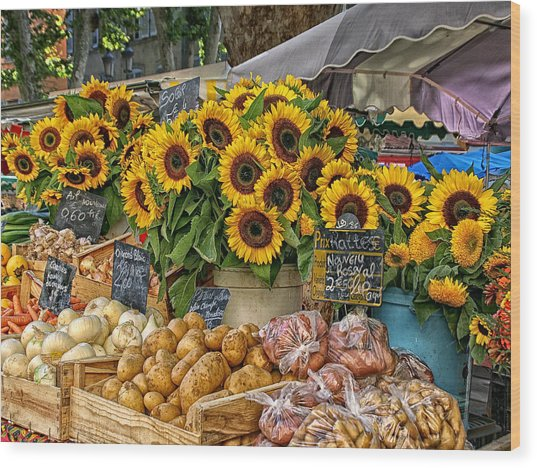 Sunflowers In A French Market Wood Print