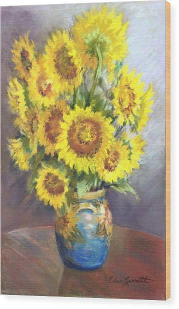 Sunflowers In A Sunflower Vase Wood Print