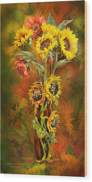Sunflowers In Sunflower Vase Wood Print