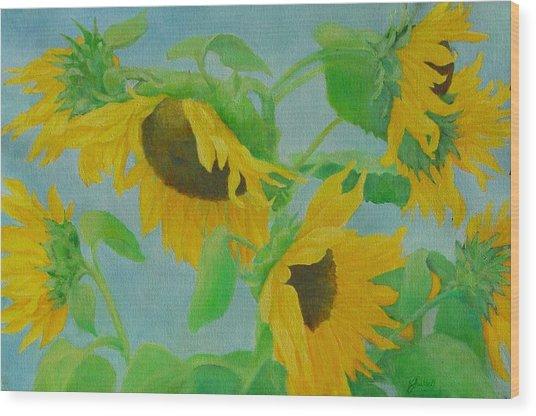 Sunflowers In The Wind 2 Wood Print by K Joann Russell
