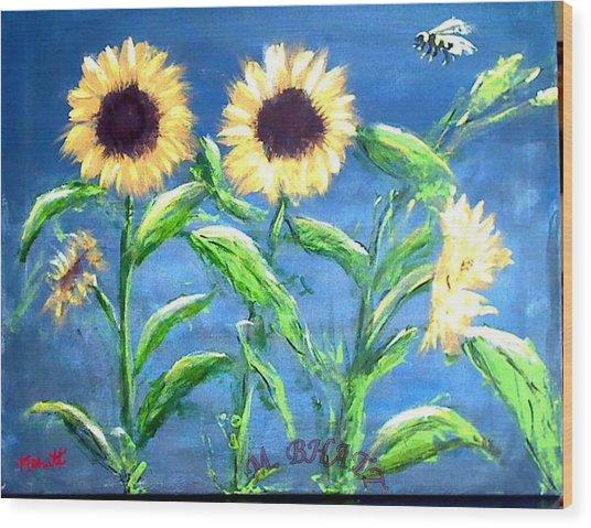 Sunflowers Wood Print by M Bhatt