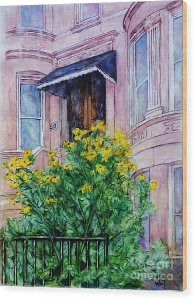 Sunflowers On 9th Street Wood Print