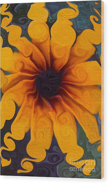 Sunflowers On Psychadelics Wood Print