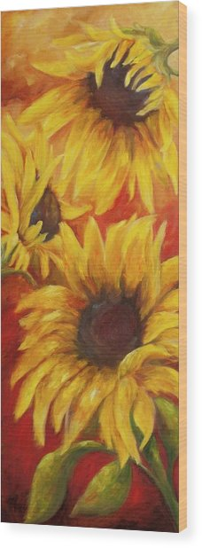 Sunflowers On Red Wood Print