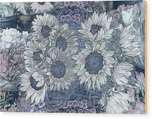 Sunflowers Paris Wood Print