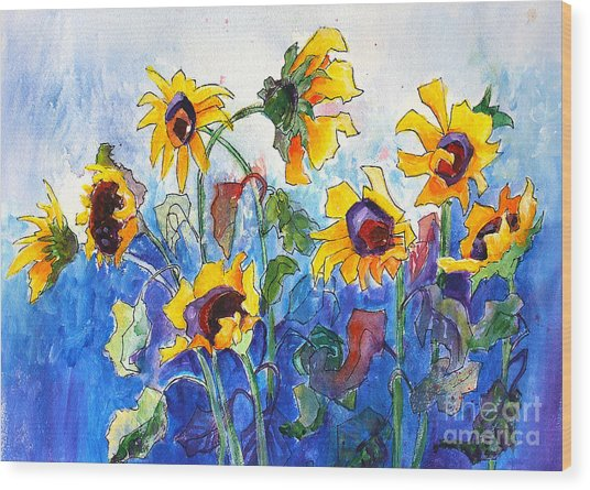 Wood Print featuring the painting Sunflowers by Priti Lathia