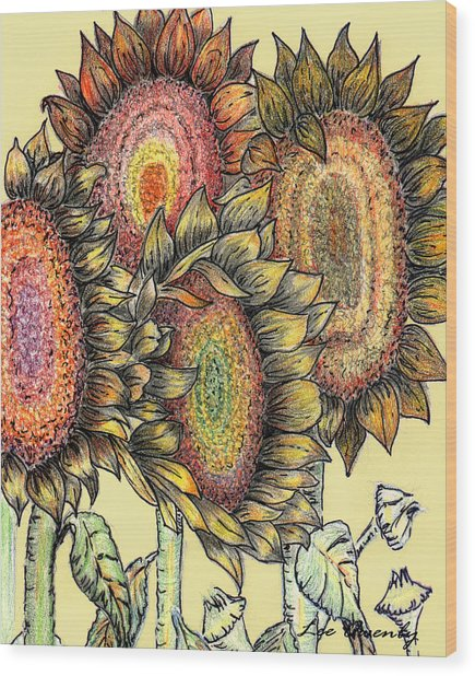 Sunflowers Revisited Wood Print