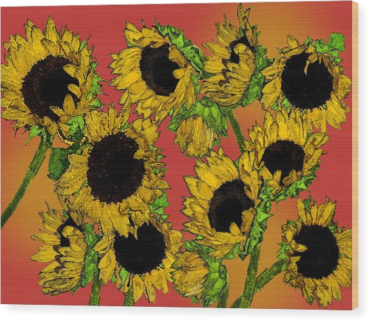Sunflowers Wood Print by Robert Ashbaugh