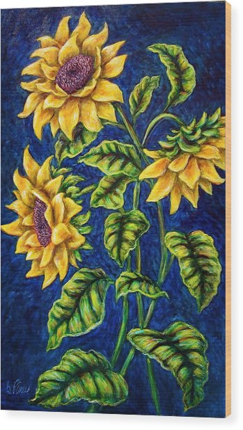 Sunflowers Wood Print by Sebastian Pierre