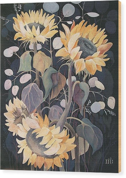 Sunflowers' Symphony Wood Print