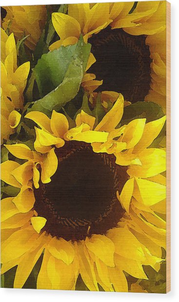 Sunflowers Tall Wood Print