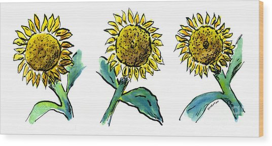 Sunflowers Trio Wood Print