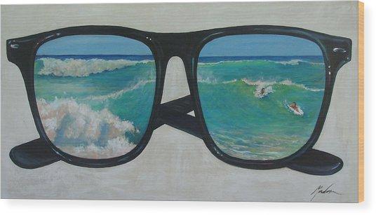 Sunglass Wave Wood Print by Brenda Gordon